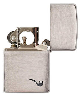 Zippo with metallic case designed specifically for pipes