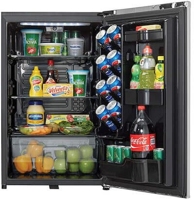 Danby chiller with door open exposing food and drinks